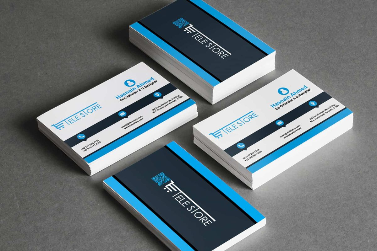 Blue and White Corporate Business Card Sample