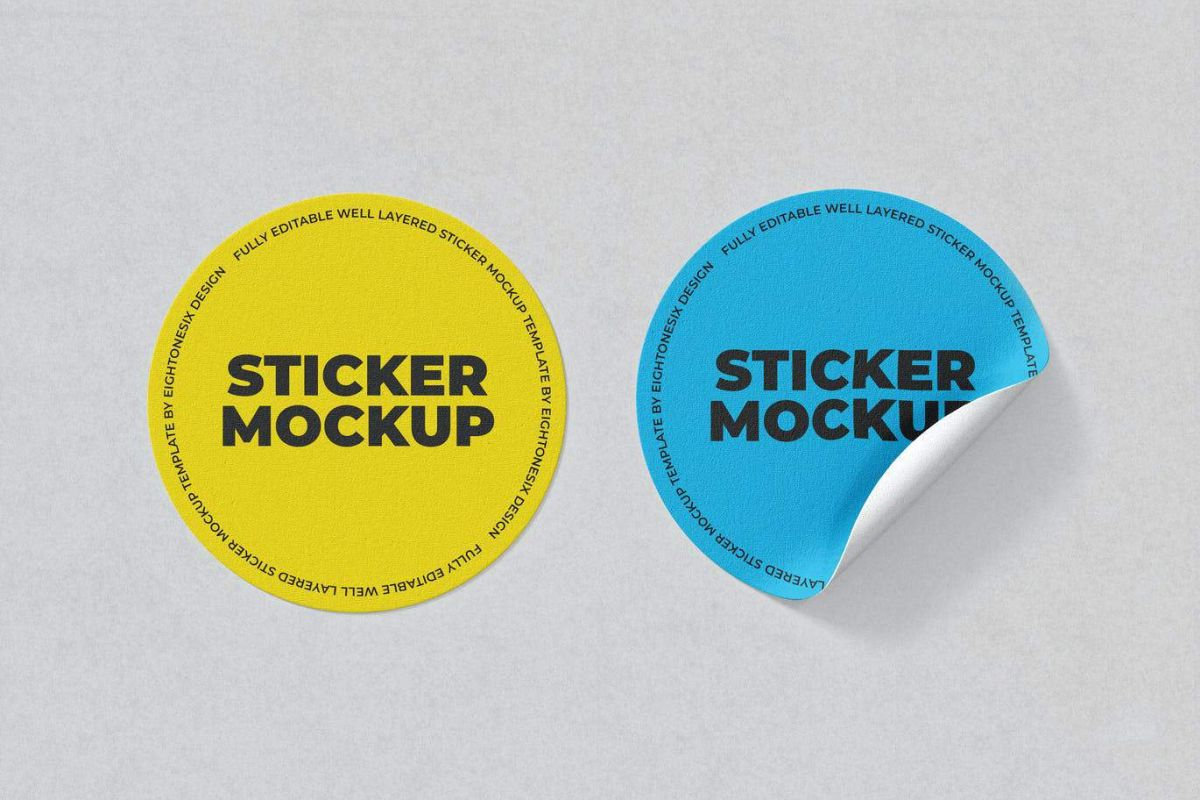 Two full color sticker mockup - blue and yellow