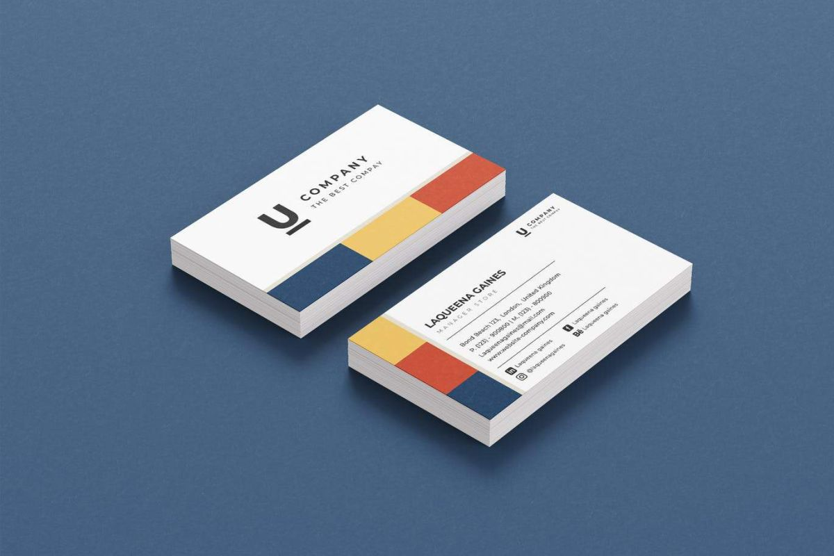 Full Color Business Cards on Blue Background